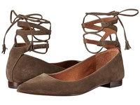 Frye Sienna Ghillie Ballet Dark Taupe Suede Women's Flat Shoes Brown