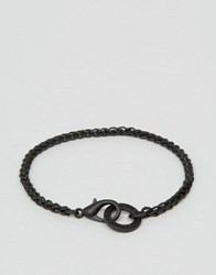 Icon Brand Chain Bracelet In Matte Black Black