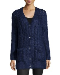 Michael Kors Long Sleeve Cable Knit Cardigan Indigo Women's