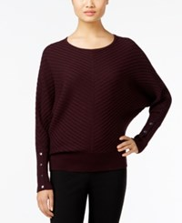 Alfani Dolman Sleeve Ribbed Sweater Only At Macy's New Wine