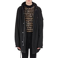 Saint Laurent Men's Washed Twill Military Parka Black Blue Black Blue