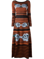 Temperley London Long Venture Knit Dress Yellow Orange