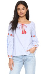 Tory Burch Madison Tunic Blue Dusk White