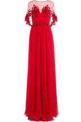 Zuhair Murad Embellished Evening Gown Red