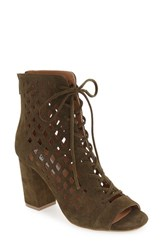 Steve Madden Women's 'Denay' Cutout Bootie Olive Suede