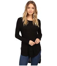 Culture Phit Leda Long Sleeve Top With Side Slits Black Women's Clothing