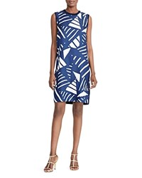 Ralph Lauren Geo Print Mixed Media Dress Navy