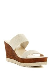 Italian Shoemakers Dual Strap Wedge Sandal Brown