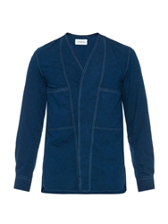 Lemaire V Neck Cotton Denim Shirt
