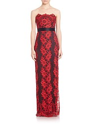 Dawn Levy Platinum Strapless Lace Gown Cherry