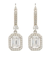 Carat Emerald Cut Earrings Female Silver