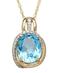 Lord And Taylor 14K Yellow Gold Blue Topaz Diamond Pendant Necklace Blue Topaz Gold
