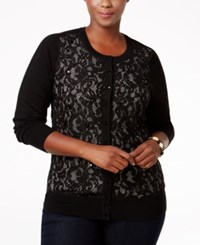 Charter Club Plus Size Lace Front Cardigan Only At Macy's Deep Black Combo