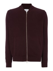 Peter Werth Men's Carr Chunky Cotton Zip Through Bomber Burgundy