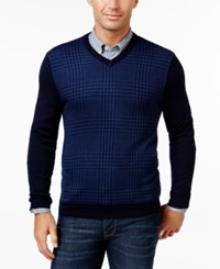 Club Room Men's Big And Tall Merino Wool Houndstooth V Neck Sweater Only At Macy's Navy Blue