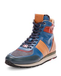 Asiaki Leather High Top Trainer Sneaker Teal Bally Blue