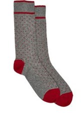 Barneys New York Pin Dot Mid Calf Socks Grey