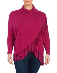 Context Plus Fringed Cowlneck Sweater Fuschia Garnet