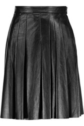 Belstaff Luxton Pleated Leather Mini Skirt Black