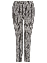 Jaeger Aztec Print Cropped Trousers Black Cream