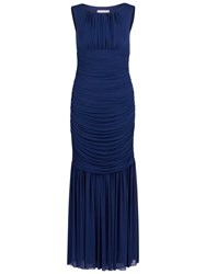 Gina Bacconi Long Ruched Dress Autumn Navy