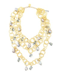 Triple Strand Flat Link Pearl Necklace Devon Leigh