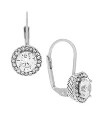 Cole Haan Cubic Zirconia Rhodium Plated Brass Earrings Silver