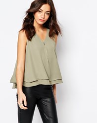 New Look Zip Front Swing Shell Top Khaki