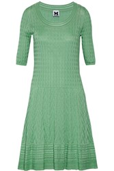 M Missoni Crochet Knit Cotton Blend Mini Dress Green