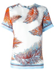 Emilio Pucci Feather Print Shortsleeved T Shirt White