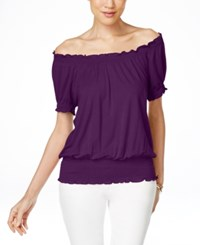 Inc International Concepts Smocked Waist Off Shoulder Peasant Blouse Only At Macy's Purple Paradise