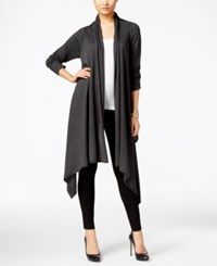 Cable And Gauge Multi Wrap Open Front Cardigan Charcoal Heather