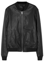 Blk Dnm 81 Black Leather Bomber Jacket
