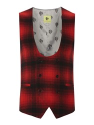 Noose And Monkey Double Breasted Waistcoat Red
