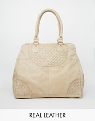 Pieces Leather Tote Bag Sand