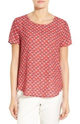 Pleione Women's Pleat Back Woven Print Top Red Ink Ivory Multi Geo