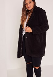 Missguided Black Plus Size Faux Shearling Teddy Coat