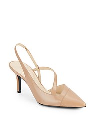 Nine West Kadia Leather Point Toe Slingback Pumps Taupe