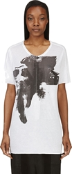 Ma Julius White Cotton And Silk Jersey Painted T Shirt