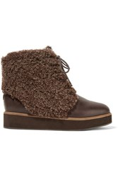 Australia Luxe Collective Bundaburg Shearling Trimmed Leather Boots Dark Brown