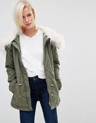 Brave Soul Drawstring Parka With Faux Fur Hood Khaki Green
