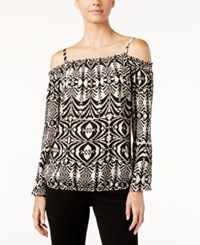 Inc International Concepts Printed Cold Shoulder Top Only At Macy's Aztec Black