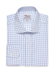 T.M.Lewin Check Slim Fit Long Sleeve Classic Collar Formal Mid Blue