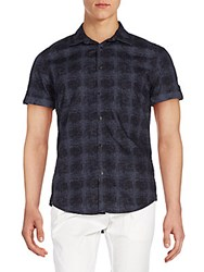 Calvin Klein Jeans Plaid Cotton Short Sleeve Shirt Greystone