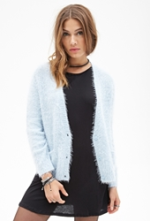 Forever 21 Fuzzy Knit Cardigan Blue