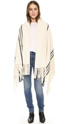 Apiece Apart Stripe Shawl Black And Cream