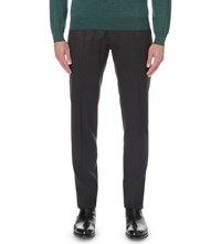 Brioni Regular Fit Wool And Cashmere Blend Trousers Navy