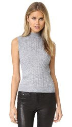 Rebecca Taylor Sleeveless Ribbed Pullover Heather Grey