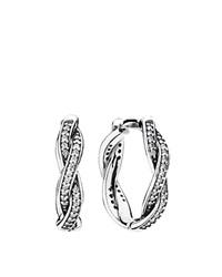 Pandora Design Pandora Earrings Sterling Silver And Cubic Zirconia Twist Of Fate Huggies