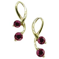 Ewa 9Ct Yellow Gold Ruby Drop Earrings Gold